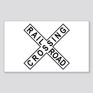Rail Road Crossing Sign Rectangle Sticker