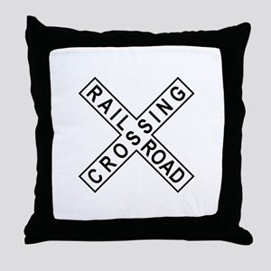 Rail Road Crossing Sign Throw Pillow