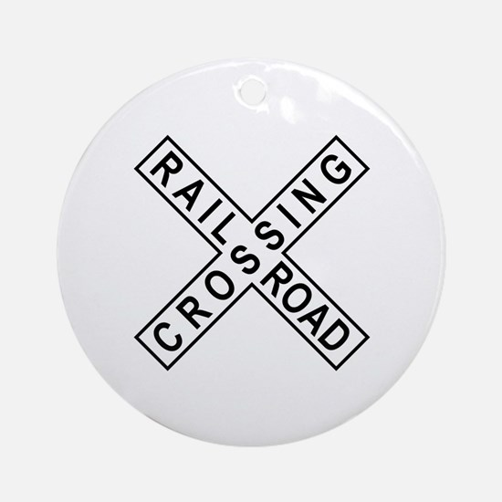 Rail Road Crossing Sign Ornament (Round)