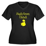 Maple Grove Chick Women's Plus Size V-Neck Dark T-