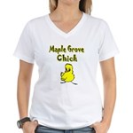 Maple Grove Chick Women's V-Neck T-Shirt