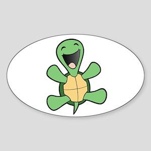 Happy Turtle Oval Sticker