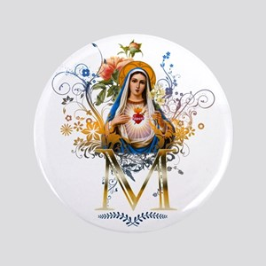 """Immaculate Heart of Mary 3.5"""" Button"""