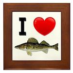 I Love Walleye Framed Tile