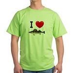 I Love Walleye Green T-Shirt