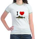 I Love Walleye Jr. Ringer T-Shirt