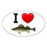 I Love Walleye Oval Sticker (10 pk)