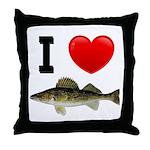 I Love Walleye Throw Pillow