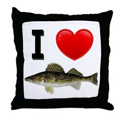 I Love Walleye Throw Pillow