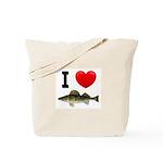 I Love Walleye Tote Bag