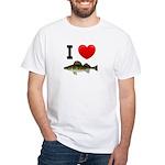 I Love Walleye White T-Shirt