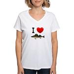 I Love Walleye Women's V-Neck T-Shirt