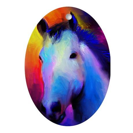 Stallion horse Oval Ornament