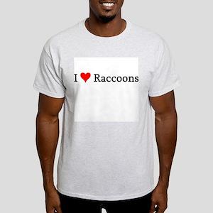 I Love Raccoons Ash Grey T-Shirt