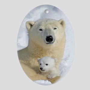 Polar Bear with Cub Oval Ornament