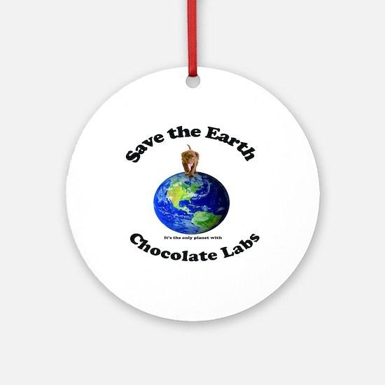Chocolate Lab Ornament (Round)