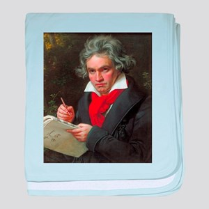 Vintage portrait of composer, Ludwig baby blanket