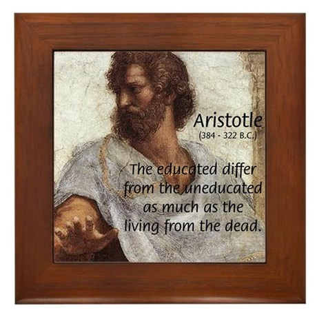 Aristotle Education Quote Framed Tile