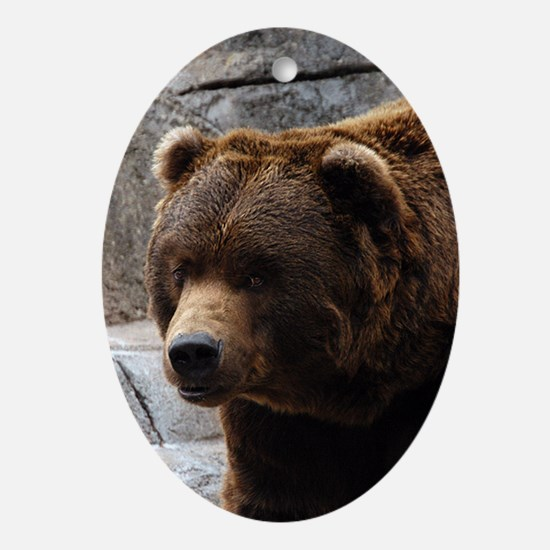 Grizzly Bear Oval Ornament