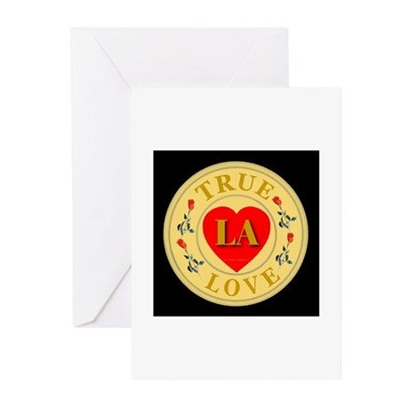 LA True Love Golden Seal Greeting Cards (Package o