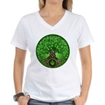 Circle Celtic Tree of Life Women's V-Neck T-Shirt