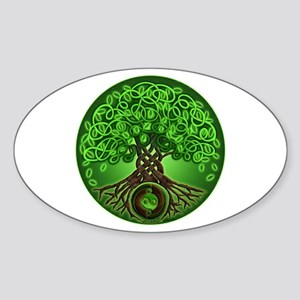 Circle Celtic Tree of Life Oval Sticker