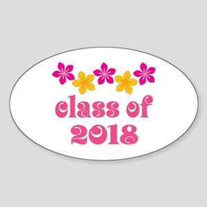 Floral School Class 2018 Oval Sticker
