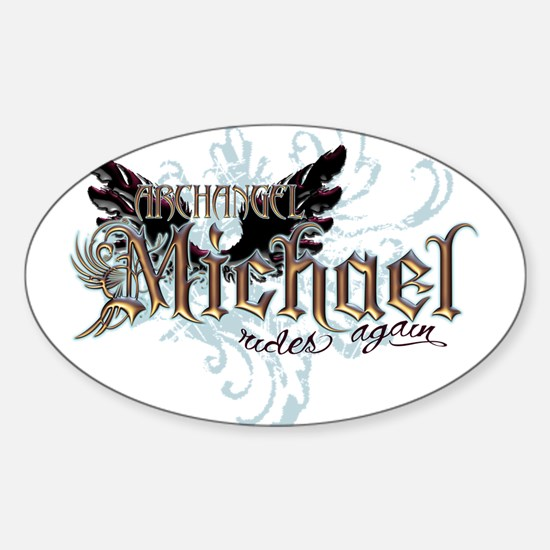 Archangel Michael Rides Again Oval Decal