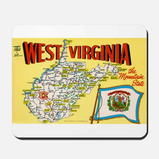 1950's West Virginia Map Mousepad
