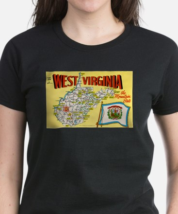 1950's West Virginia Map Women's Dark T-Shirt