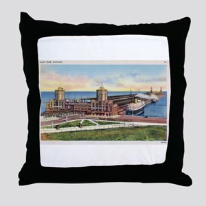 1930's Chicago's Navy Pier Throw Pillow