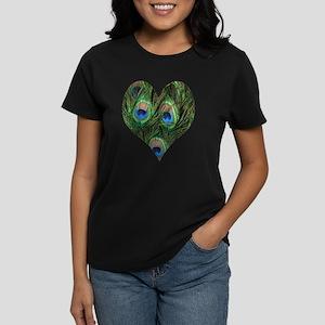 Peacock Heart Women's Dark T-Shirt