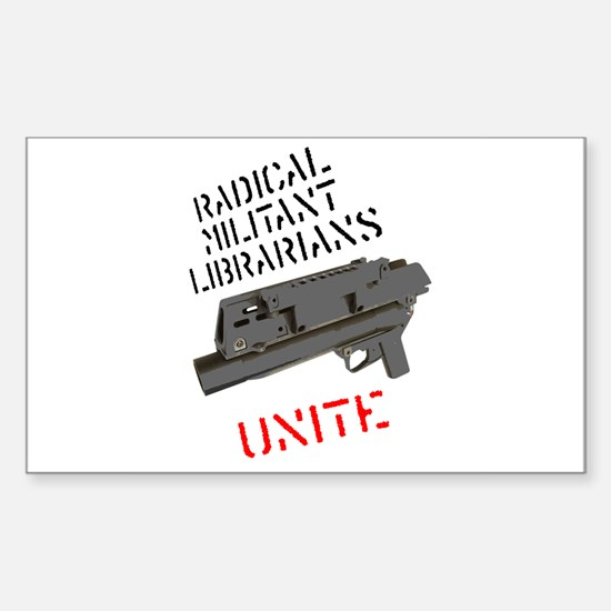 radical militant librarian Rectangle Decal