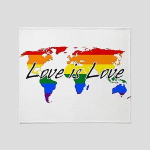 Gay Pride Love Is Love Worldwide Throw Blanket