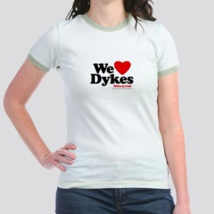 We Heart Dykes, Jr. Ringer T-Shirt, Midway Cafe
