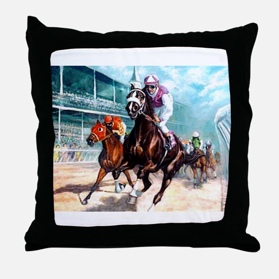 DOWN THE FIRST TURN Throw Pillow