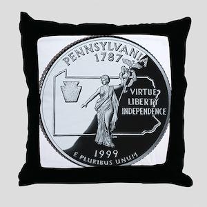 Pennsylvania Quarter Throw Pillow