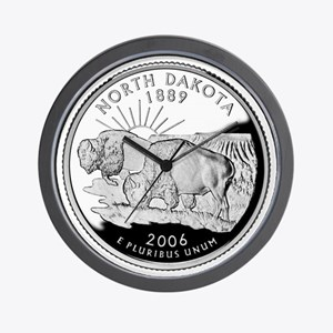 North Dakota Quarter Wall Clock