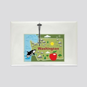 Washington Map Rectangle Magnet