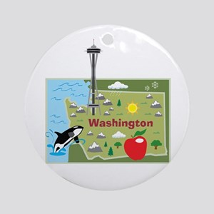 Washington Map Ornament (Round)