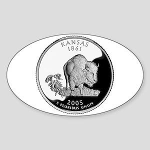 Kansas Quarter Oval Sticker
