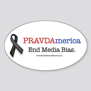 Stop the Presses! End Media Bias. Oval Sticker