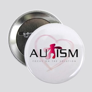 """Autism Pink Heart 2.25"""" Button"""