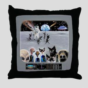 Cat Moon Party Throw Pillow