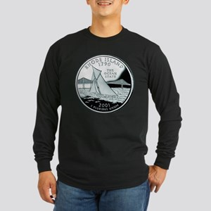 Rhode Island Quarter Long Sleeve Dark T-Shirt