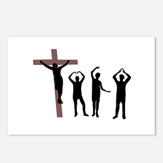 Jesus dancing YMCA Postcards (Package of 8)