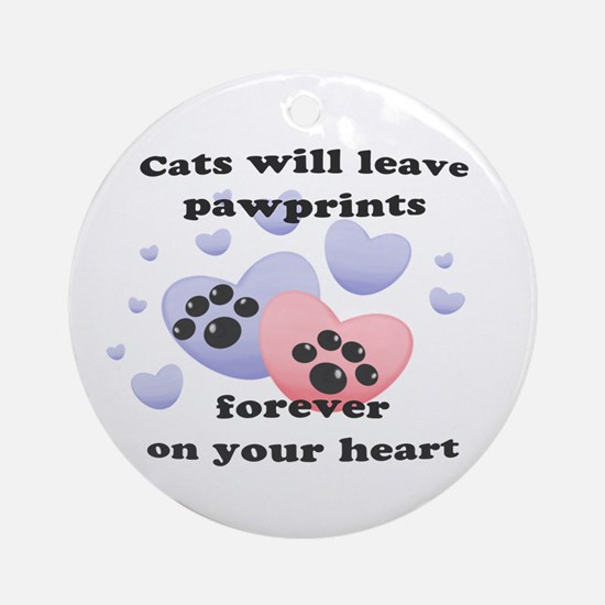 Kitty Paw-Prints Ornament (Round)