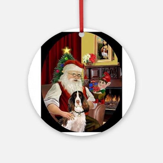 Santa's English Springer Spaniel Ornament (Round)