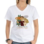 God Bless Our Loggers Women's V-Neck T-Shirt