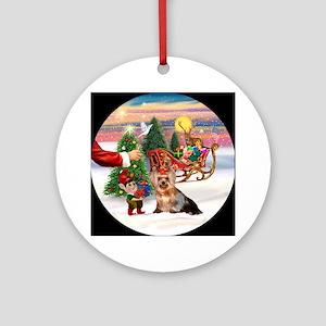 A Treat for Santa's Yorkie Ornament (Round)